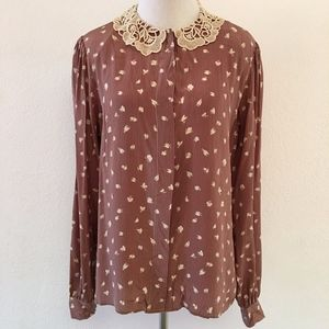 Valentino Vintage Butterfly Blouse w/ Lace Collar